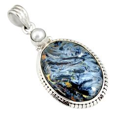 17.57cts natural black pietersite (african) pearl 925 silver pendant r20065