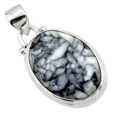13.65cts natural black pinolith 925 sterling silver pendant jewelry r46464