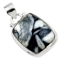 14.65cts natural black pinolith 925 sterling silver pendant jewelry r46465
