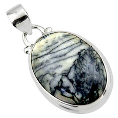 14.57cts natural black pinolith 925 sterling silver pendant jewelry r46466