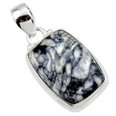 14.45cts natural black pinolith 925 sterling silver pendant jewelry r46470