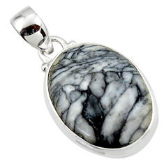 14.10cts natural black pinolith 925 sterling silver pendant jewelry r46472
