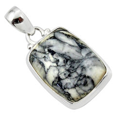 16.92cts natural black pinolith 925 sterling silver pendant jewelry r46480