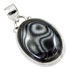 13.60cts natural black psilomelane (crown of silver) 925 silver pendant r46367