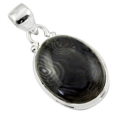 14.15cts natural black psilomelane (crown of silver) 925 silver pendant r46374