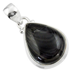 14.95cts natural black psilomelane (crown of silver) 925 silver pendant r46377