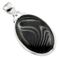 15.55cts natural black psilomelane (crown of silver) 925 silver pendant r46380