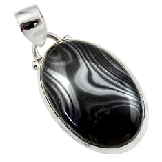14.35cts natural black psilomelane (crown of silver) 925 silver pendant r46610