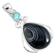 15.65cts natural black psilomelane (crown of silver) 925 silver pendant r94481