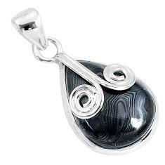 11.17cts natural black psilomelane (crown of silver) 925 silver pendant r94491