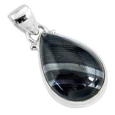 11.73cts natural black psilomelane (crown of silver) 925 silver pendant r94498
