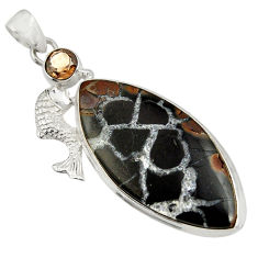 Clearance Sale- 31.00cts natural black septarian gonads 925 silver fish pendant jewelry d41471