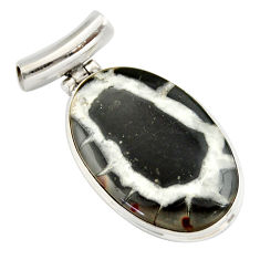 22.59cts natural black septarian gonads 925 sterling silver pendant r20127