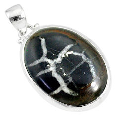 16.85cts natural black septarian gonads 925 sterling silver pendant r86615