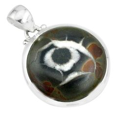 16.82cts natural black septarian gonads 925 sterling silver pendant r86618