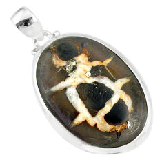 16.82cts natural black septarian gonads 925 sterling silver pendant r86619