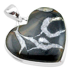 25.57cts natural black septarian gonads 925 sterling silver pendant t13354