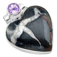 16.70cts natural black septarian gonads amethyst 925 silver pendant t13226