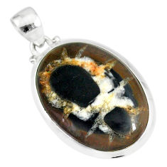16.28cts natural black septarian gonads oval 925 sterling silver pendant r86604
