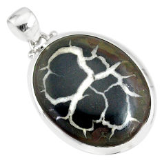 17.76cts natural black septarian gonads oval 925 sterling silver pendant r86608