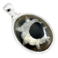 16.85cts natural black septarian gonads oval 925 sterling silver pendant r86614