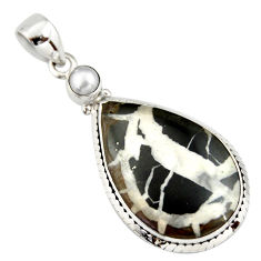 21.48cts natural black septarian gonads pearl 925 sterling silver pendant r20128