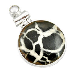 20.88cts natural black septarian gonads pearl 925 sterling silver pendant r20133