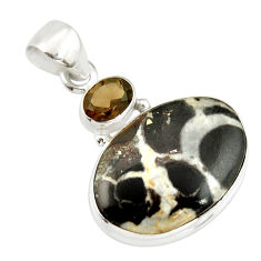 14.65cts natural black septarian gonads smoky topaz 925 silver pendant r20130