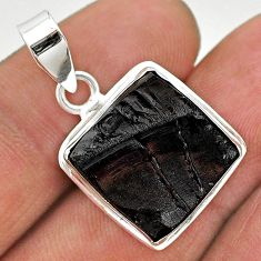 10.73cts natural black shungite 925 sterling silver pendant jewelry t23666