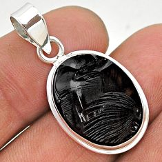 10.18cts natural black shungite 925 sterling silver pendant jewelry t23686