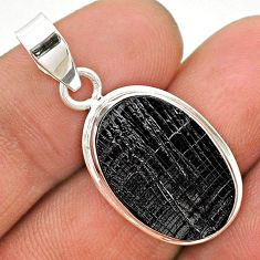10.22cts natural black shungite 925 sterling silver pendant jewelry t23702