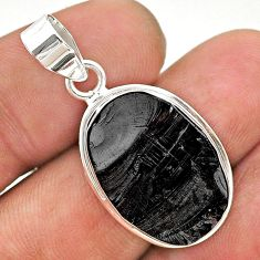 11.59cts natural black shungite 925 sterling silver pendant jewelry t23706