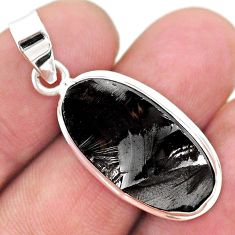 11.06cts natural black shungite 925 sterling silver pendant jewelry t23807