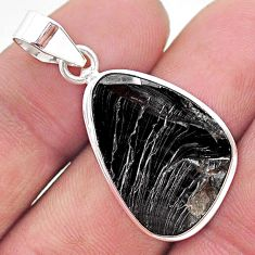 9.77cts natural black shungite 925 sterling silver pendant jewelry t23808