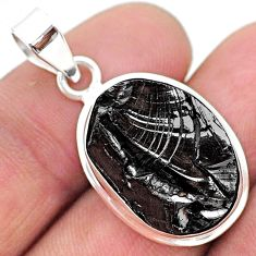 10.22cts natural black shungite 925 sterling silver pendant jewelry t23814