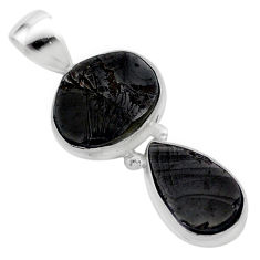 7.17cts natural black shungite 925 sterling silver pendant jewelry t42132