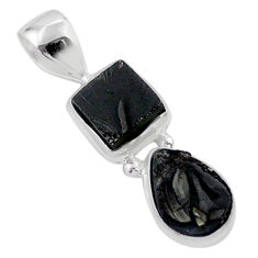 5.83cts natural black shungite 925 sterling silver pendant jewelry t42147