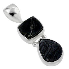 5.46cts natural black shungite 925 sterling silver pendant jewelry t42158