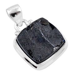 9.86cts natural black shungite 925 sterling silver pendant jewelry t45901