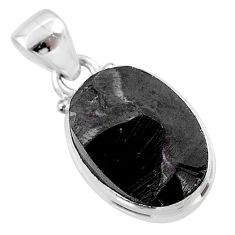 6.61cts natural black shungite 925 sterling silver pendant jewelry t45912