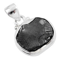 7.13cts natural black shungite 925 sterling silver pendant jewelry t45913