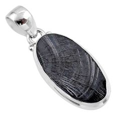 10.30cts natural black shungite 925 sterling silver pendant jewelry t45916