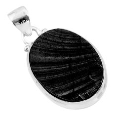 11.57cts natural black shungite 925 sterling silver pendant jewelry t45925