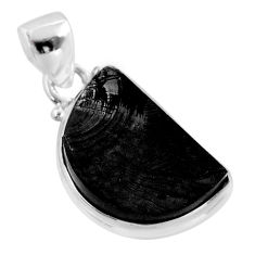 7.96cts natural black shungite 925 sterling silver pendant jewelry t45927