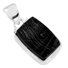 6.22cts natural black shungite 925 sterling silver pendant jewelry t45930