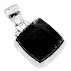 6.97cts natural black shungite 925 sterling silver pendant jewelry t45936