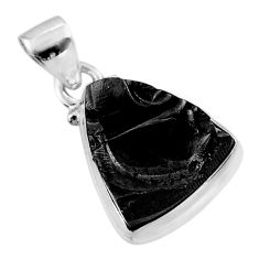 7.50cts natural black shungite 925 sterling silver pendant jewelry t45937