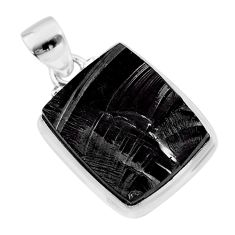 11.73cts natural black shungite 925 sterling silver pendant jewelry t45940