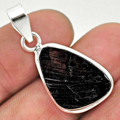 9.34cts natural black shungite fancy 925 sterling silver pendant jewelry t23719