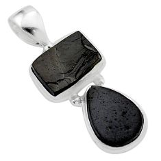 7.66cts natural black shungite octagan sterling silver pendant jewelry t42138